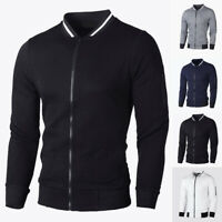 Men Casual Retro Stand Collar Shirt Zipper Long Sleeve Coat Winter Warm Sweater