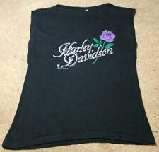 HOT! Vintage 1987 Harley Davidson Fun-Tees Holoubek Purple Rose Armless T Shirt