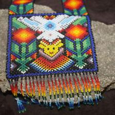 Huichol Peyote Beaded 2 Headed Eagle Necklace VV