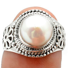 Natural Pearl 925 Sterling Silver Ring s.8.5 Jewelry 6563