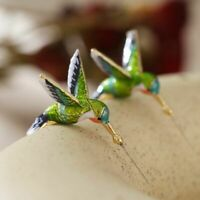 2x Fliegende Kolibri Malerei Öl Ohrringe Mode Tier Schmuck niedliche Ohrringe