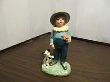 Vintage Ceramic Figurine - Girl With Puppy Dog - Dalmatian - Japan