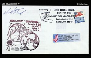 """USS COLUMBIA SSN 771 24 SEP 1994 LAUNCH 'LAST SUBMARINE TO SLIDE ON LAUNCH"""" CNX"""