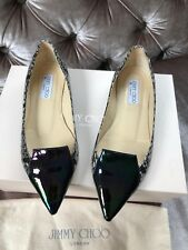 JIMMY CHOO 'Attila' Flats Slip On Black Petrol Snake Shoes Size Uk 4 Eu 37