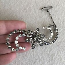 VINTAGE Donald SIMPSON Silver TONE Black DIAMOND Crystal RHINESTONE Brooch
