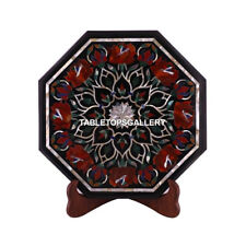 "12"" Black Marble Console Table Top Mosaic Floral Home Inlaid Garden Decor M074"