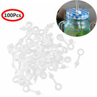 100 Silicone Grommets Straw Hole w/Plugs for Mason Jar Lid Wine Airlock Beer Cap