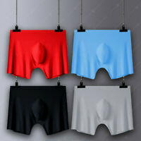 Men Ice silk Seamless Boxer Brief Pouch Underwear Shorts Sexy Bulge Underpant