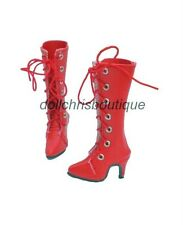 """Boots Shoes for 16"""" Ellowyne Wilde Doll Red Tall Lace-Up Custom Size New"""
