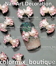 3D Nail Art Tips Decoration (10x7)mm Bow Knot Glitter Alloy Jewelry Slice #CA127