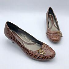73d264ba0b3 Naturalizer Jafar Women Croc Print Brown Leather Heel Shoe Size 9.5M Pre  Owned