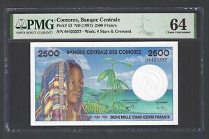 Comoros 2500 Francs ND(1997) P13 Uncirculated Grade 64