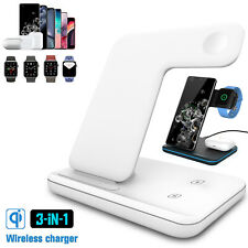 15W 3in1 QI Wireless Fast Charger Pad Dock Charging Stand For Samsung S10/S20/S9