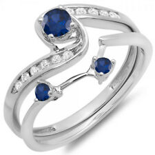 0.50 CT 18k White Gold Round Blue Sapphire & White Diamond Swirl Engagement Set
