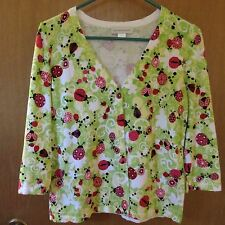 Christopher & Banks Ladybug Sweater - Size Small- Whit/green Multi-Color