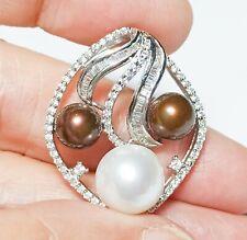 Unique Triple Edison Cultured Natural Multi Color Round 7 - 10mm Pearls Pendant