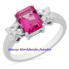 Elegant Pink  Topaz Emerald Cut Platinum/Silver Ring 2.00 Ct