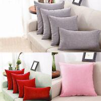 Cotton Linen Solid Throw Pillow Cover Home Sofa Case Cushion Gift Home Decor