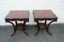 Mahogany Claw Feet Pair of Side End Tables 1012