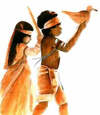 CEREMONY Children Native American Dancers Print Colored Ink Southwestern Art