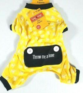 "Dog BOO Pajamas Yellow Black 'Throw Me A Bone"" Halloween Costume Skull Ribcage"
