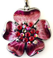 Crystal Accents Enamel 5R Designer Statement Hematite Necklace Floral