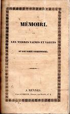 Horace-Léon-Léonard NADAUD. Mémoire sur les terres vaines et vagues
