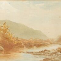 Antique painting landscape watercolour A Cox early 20th century river scene