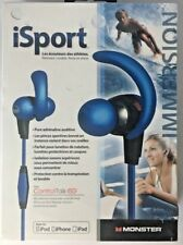 Monster Brand iSport Immersion ControlTalk In-Ear Waterproof Earphones-Blue New
