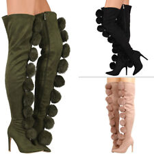NEW Faux Fur Pom Pom Ball Over Knee Thigh High Boot Stiletto Heel Pointy Toe Zip