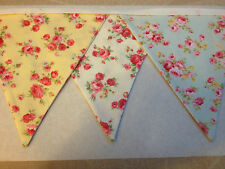 Traditional Bunting in Lemon,Ivory and Pale Blue Rose Print Double Sided 13ft/4m