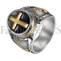 Men's Stainless Steel Christian Holy Cross Prayer Ring Wedding Band Size 8-14