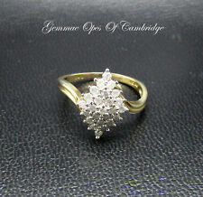 9ct Gold Diamond Cluster ring in Diamond Shaped Setting Size P 2.4g 0.5ct