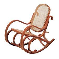 Sedia Vintage dondolo per bimbi in legno di faggio di col.miele seduta paglia