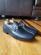 MAGNANNI XL Extra Light Black Leather Sliver Horse Bit Loafer Shoes Size 7.5 M