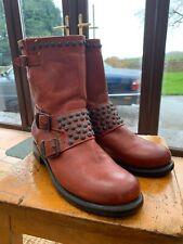 Frye 'Jenna' Studded Brick Red Biker Boots - Size 7 (US 9) Worn Once.