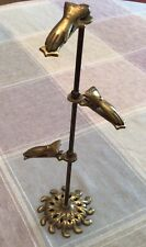 Vintage Brass Stand 3 Gloved Hands Display Notes Cards Jewelry Etc Made In Japan