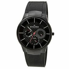 Skagen 809XLTBB Men's Denmark Black Titanium Mesh Bracelet Black Dial Watch