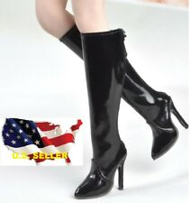 1/6 women fashion gloss black Boot for phicen kumik verycool hot toys ❶USA❶
