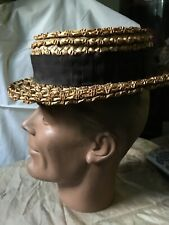 Antique Victorian Men Or Women Straw Boater Hat w Grosgrain Ribbon Early1900's