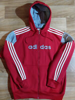 Adidas Vintage Mens Hoodie Tracksuit Top Jacket Hooded ClimaWarm Red White