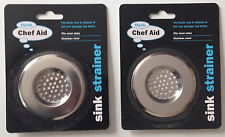 2 x ThinkChef Aid Sink/Plug Hole Stainless Steel Strainer Fits Most Sinks