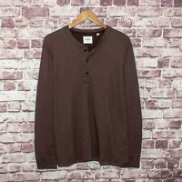 BILLY REID Men's Long Sleeve Henley Shirt Brown Cotton Poly Size Large