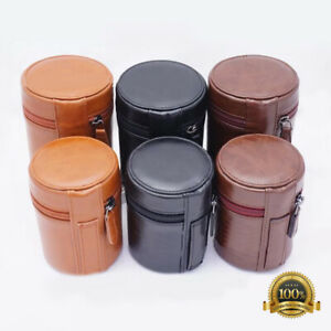 Leather Camera Lens Bag Retro Hard PU Lens Case for Sony Canon Tamron Sigma Lens