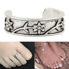 Adjustable Silver Flower Toe Ring Foot Beach Jewellry Knuckle Top Finger