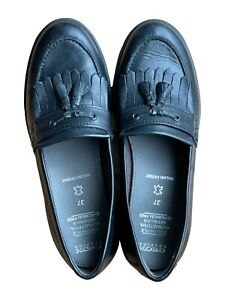 Geox Womens Italian Patent Slip On Leather Black Loafer Shoes EU 37