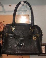 DOONEY & BOURKE Vintage Black On Black All Weather Satchel Bag Brass Fob