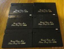 Empty box Silver Proof set 1992 1993 1994 1996 1997 1998 Plus all COA No Coins