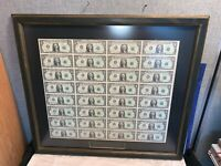 Nicely framed FULL UNCUT SHEET 32 $1 Bill Currency US Federal Reserve Note 1981
