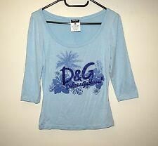 DOLCE AND GABBANA D&G WOMEN'S BLOUSE TOP LIGHT BLUE SIZE 26/40 S ITALY ORIGINAL